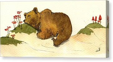 Dreaming Grizzly Bear Canvas Print by Juan  Bosco