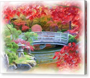 Dreaming Of Fall Bridge In Manito Park Canvas Print by Carol Groenen