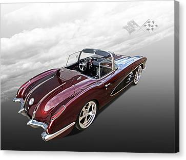 Antique Automobiles Canvas Print - Dreaming Of The '50s - 1958 Corvette by Gill Billington