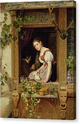 Dreaming On The Windowsill Canvas Print by August Friedrich Siegert