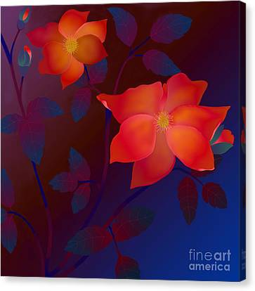Canvas Print featuring the digital art Dreaming Wild Roses by Latha Gokuldas Panicker