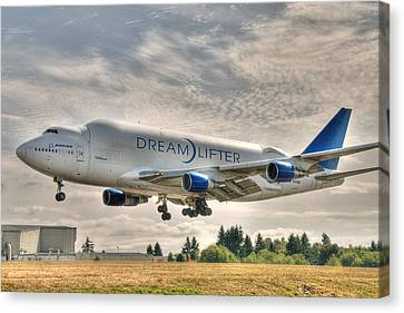 Canvas Print featuring the photograph Dreamlifter Landing 1 by Jeff Cook