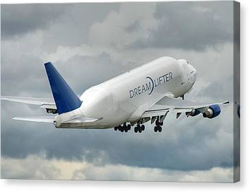 Canvas Print featuring the photograph Dreamlifter Takeoff 2 by Jeff Cook