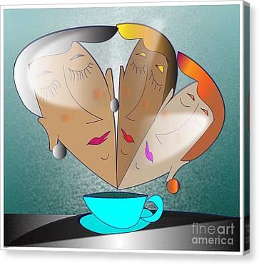 Canvas Print featuring the digital art Dreams Cafe by Iris Gelbart
