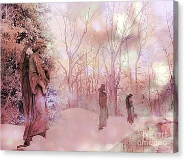 Dreamy Angel Surreal Ethereal Pink Woodlands With Angels And Statues Canvas Print by Kathy Fornal