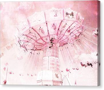 Dreamy Baby Pink Carnival Fair Ferris Wheel - Baby Girl Nursery Room Carnival Prints Canvas Print by Kathy Fornal
