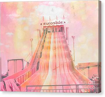 Dreamy Baby Pink Carnival Ride - Euroslide Canvas Print by Kathy Fornal