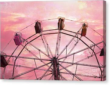 Dreamy Baby Pink Sky Ferris Wheel Carnival Art Canvas Print by Kathy Fornal