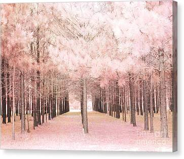 Dreamy Baby Pink Trees Woodlands Forest Fairytale Fantasy Nature - Shabby Chic Pink Trees Woodlands Canvas Print