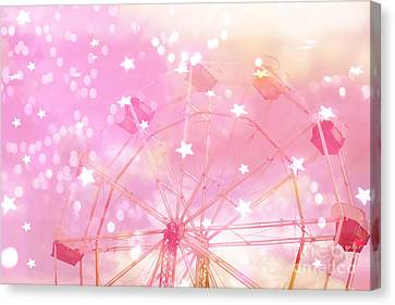 Dreamy Baby Girl Pink Yellow Carnival Festival Ferris Wheel Circles And Stars Art Canvas Print by Kathy Fornal