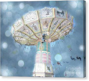 Dreamy Blue Surreal Carnival Festival Ferris Wheel Blue Bokeh - Baby Blue Dreamy Ferris Wheel Photo Canvas Print by Kathy Fornal
