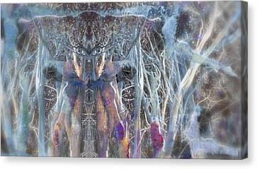 Dreamy Blue Up-dog Yoga Art Canvas Print
