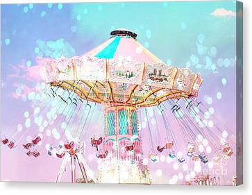 Dreamy Carnival Ferris Wheel Ride - Baby Pink Aqua Teal Ferris Wheel Festival Ride Canvas Print by Kathy Fornal