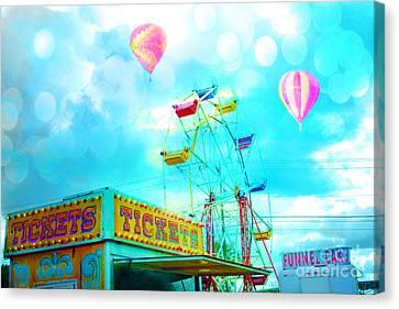 Dreamy Carnival Ferris Wheel Ticket Booth Hot Air Balloons Teal Aquamarine Blue Festival Fair Rides Canvas Print