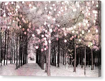 Dreamy Cottage Shabby Chic Pastel Nature Photography - Fairytale Fantasy Woodlands Pink Forest Canvas Print
