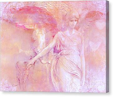 Dreamy Ethereal Angel Photography - Ethereal Pink Angel With White Hearts Canvas Print