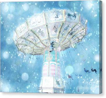 Dreamy Ferris Wheel Baby Boy Blue Carnival Festival Photo - Baby Blue Ferris Wheel Blue Starry Skies Canvas Print by Kathy Fornal
