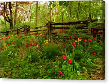 Dreamy Forest With Tulips - Impressions Of Spring Canvas Print by Georgia Mizuleva