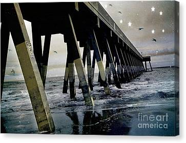 Dreamy Haunting Ocean Coastal Pier With Stars And Birds Canvas Print by Kathy Fornal