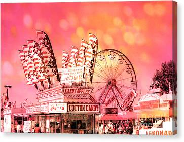 Surreal Hot Pink Orange Carnival Festival Cotton Candy Stand Candy Apples Ferris Wheel Art Canvas Print by Kathy Fornal