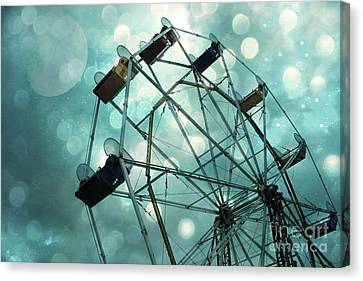 Dreamy Mint Green Teal Carnival Ferris Wheel With Moon And Bokeh Circles  Canvas Print by Kathy Fornal