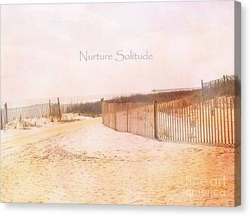 Dreamy Pale Cottage Summer Beach Typography  Canvas Print by Kathy Fornal