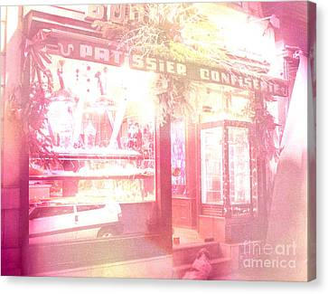Dreamy Paris Pink Confectionary Candy And Pastry Shop Canvas Print by Kathy Fornal