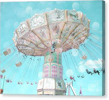 Dreamy Pastel Aqua Blue Teal Ferris Wheel Swing Ride Carnival Art - Pastel Kids Room Carnival Decor Canvas Print by Kathy Fornal