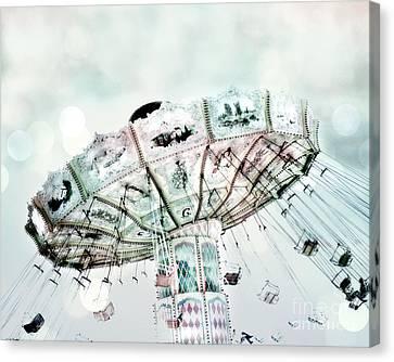 Dreamy Aqua Blue Green Ferris Wheel Swing Ride Carnival Art - Fairytale Festival Carnival Rides  Canvas Print