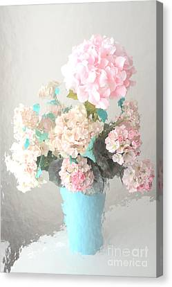 Shabby Chic Cottage Pink And Aqua Teal Impressionistic Shabby Chic Cottage Romantic Floral Bouquet  Canvas Print by Kathy Fornal