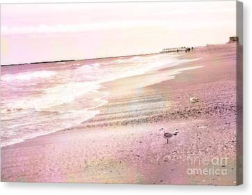 Dreamy Pink Beach Ocean Coastal Wrightsville Beach North Carolina Beach Ocean Art Canvas Print