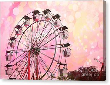 Dreamy Pink Carnival Ferris Wheel Festival Fair Rides - Surreal Pink And Yellow Circus Carnival Art Canvas Print by Kathy Fornal