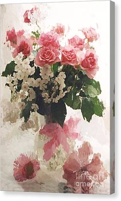 impressionistic Watercolor Roses in Vintage Antique Vase - Pink and White Vintage Roses Canvas Print by Kathy Fornal