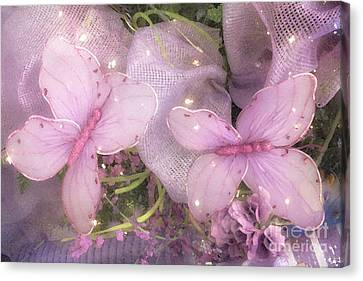 Dreamy Romantic Pink Butterflies Purple Lilac - Butterfly Shabby Chic Prints  Canvas Print by Kathy Fornal