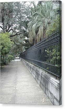 Dreamy Savannah Georgia Street Architecture Rod Iron Gates With Palm Trees  Canvas Print
