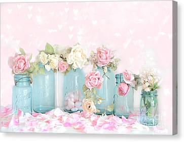 Dreamy Shabby Chic Pink White Roses  - Vintage Aqua Teal Ball Jars Romantic Floral Roses  Canvas Print