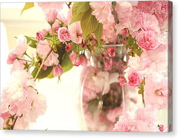 Dreamy Shabby Chic Cottage Pink Cherry Blossoms Flowers In Vase Canvas Print by Kathy Fornal