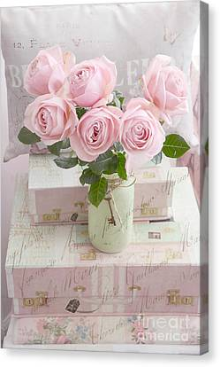 Dreamy Shabby Chic Cottage Pink Teal Romantic Floral Bouquet Roses In Ball Jar - Shabby Chic Pink  Canvas Print by Kathy Fornal