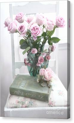 Dreamy Shabby Chic Cottage Pink Teal Romantic Floral Bouquet Roses Paris Book On Chair Canvas Print by Kathy Fornal