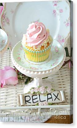 Dreamy Shabby Chic Cupcake Romantic Food Vintage Cottage Food Photography - Just Relax Canvas Print