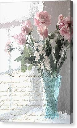 Dreamy Shabby Chic Pastel Flowers - Romantic Impressionistic Paris Roses And Tulips Canvas Print