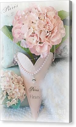 Paris Pink Hydrangeas Heart - Romantic Cottage Chic Paris Pink Hydrangea Floral Art Canvas Print by Kathy Fornal