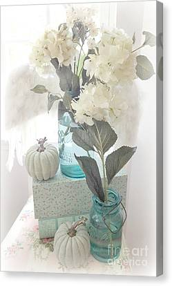 Dreamy Shabby Chic Pastel White Hydrangeas In Aqua Mason Jars - Autumn Fall Cottage Floral Decor Canvas Print by Kathy Fornal