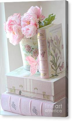 Dreamy Shabby Chic Pink Peonies And Books - Romantic Cottage Peonies Floral Art With Pink Books Canvas Print