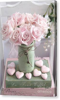 Dreamy Shabby Chic Pink Roses - Romantic Valentine Pink Roses And Hearts Floral Art Canvas Print by Kathy Fornal