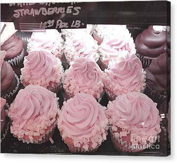Dreamy Shabby Chic Pink Strawberry Cupcakes - Cottage Pink Cupcakes Food Photography  Canvas Print by Kathy Fornal