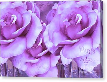Dreamy Shabby Chic Purple Lavender Paris Roses - Dreamy Lavender Roses Cottage Floral Art Canvas Print by Kathy Fornal