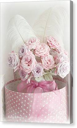 Dreamy Shabby Chic Roses In Pink Polka Dot Hat Box - Romantic Roses Floral Bouquet Canvas Print by Kathy Fornal