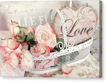 Dreamy Shabby Chic Roses In Cottage White Basket - Roses And Love Heart Canvas Print by Kathy Fornal