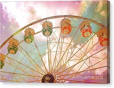 Carnival Fair Festival Ferris Wheel - Dreamy Pink Ferris Wheel Carnival Festival Rides Canvas Print by Kathy Fornal